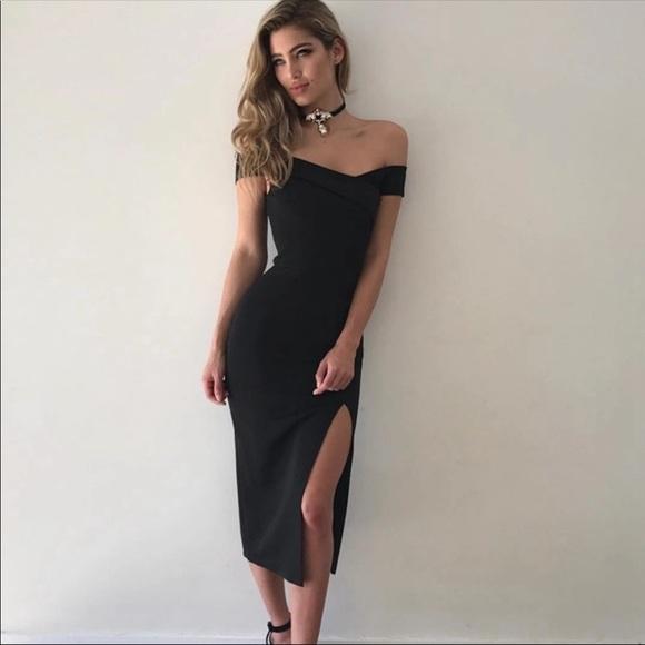5206e321f0f3 Dresses   Off Shoulder Slit Detail Midi Dress   Poshmark